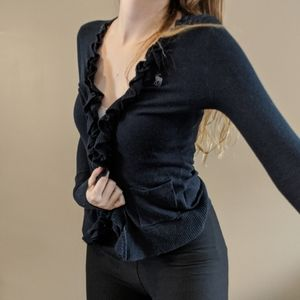 Abercrombie and Fitch Navy Ruffle Cardigan